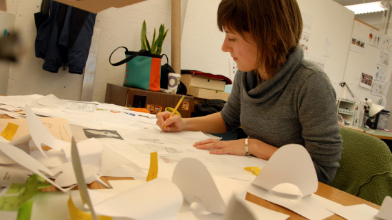 Design student works on project in her Brook Hall studio.
