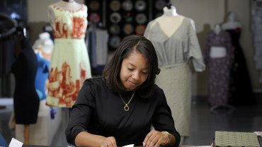 NC State Textiles student works on design project
