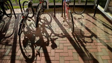 Bikes locked up on Centennial Campus.