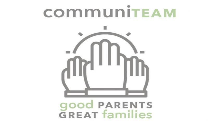 CommuniTEAM logo. communiTEAM written above three hands graphic with sun graphic above. Bottom words say good parents, great families.