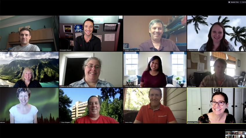 Screenshot of the fall 2020 OCIP cohort on a Zoom meeting.,