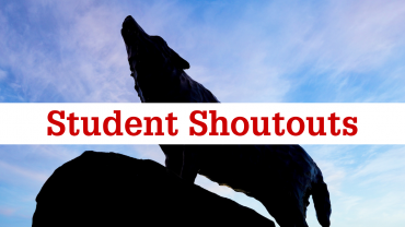 Wolf image with Student Shoutouts